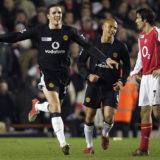 LONDON - FEBRUARY 1:  John O'Shea of Manchester United celebrates scoring their fourth goal during the Barclays Premiership match between Arsenal and Manchester United at Highbury on February 1, 2005 in London, England. (Photo by John Peters/Manchester United via Getty Images)