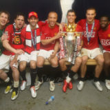 LONDON, ENGLAND - MAY 11: (MINIMUM FEES APPLY, 250GBP PER IMAGE OR LOCAL EQUIVALENT)  Edwin van der Sar, Owen Hargreaves, Ryan Giggs, Mikael Silvestre, Cristiano Ronaldo, Nemanja Vidic and Louis Saha of Manchester United celebrate with the Premier League trophy in the dressing room afetr the Barclays FA Premier League match between Wigan Athletic and Manchester United at JJB Stadium on May 11 2008, in London, England. (Photo by John Peters/Manchester United via Getty Images)