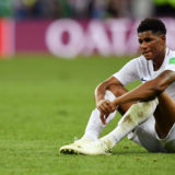 MOSCOW, RUSSIA - JULY 11:  Marcus Rashford of England looks dejected following his sides defeat in the 2018 FIFA World Cup Russia Semi Final match between England and Croatia at Luzhniki Stadium on July 11, 2018 in Moscow, Russia.  (Photo by Matthias Hangst/Getty Images)