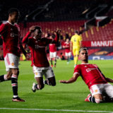 MANCHESTER, ENGLAND - JULY 28:   Andreas Pereira of Manchester United celebrates scoring a goal to make the score 2-1 during the pre-season friendly match between Manchester United and Brentford at Old Trafford on July 28, 2021 in Manchester, England. (Photo by Ash Donelon/Manchester United via Getty Images)
