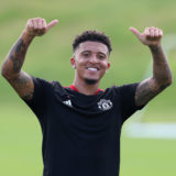 MANCHESTER, ENGLAND - AUGUST 09: (EXCLUSIVE COVERAGE) Jadon Sancho of Manchester United in action during a first team training session at Carrington Training Ground on August 09, 2021 in Manchester, England. (Photo by Matthew Peters/Manchester United via Getty Images)