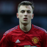 MANCHESTER, ENGLAND - APRIL 05: Lee O'Connor of Manchester United U23s in action during the Premier League 2 match between Manchester United U23s and West Bromwich Albion U23s at Old Trafford on April 05, 2019 in Manchester, England. (Photo by John Peters/Man Utd via Getty Images)