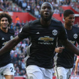 SOUTHAMPTON, ENGLAND - SEPTEMBER 23:  Romelu Lukaku of Manchester United celebrates scoring their first goal during the Premier League match between Southampton and Manchester United at St Mary's Stadium on September 23, 2017 in Southampton, England.  (Photo by John Peters/Man Utd via Getty Images)