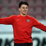 HERNING, DENMARK - FEBRUARY 17:  Regan Poole of Manchester United warms up during a training session ahead of the UEFA Europa League Round of 32 match between FC Midtjylland and Manchester United at Herning MCH Multi Arena on February 17, 2016 in Herning, Denmark.  (Photo by Michael Regan/Getty Images)