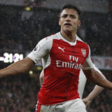 Arsenal's Chilean striker Alexis Sanchez celebrates scoring the second goal during the English Premier League football match between Arsenal and Sunderland at the Emirates Stadium in London on May 16, 2017.  / AFP PHOTO / Adrian DENNIS / RESTRICTED TO EDITORIAL USE. No use with unauthorized audio, video, data, fixture lists, club/league logos or 'live' services. Online in-match use limited to 75 images, no video emulation. No use in betting, games or single club/league/player publications.  /         (Photo credit should read ADRIAN DENNIS/AFP/Getty Images)