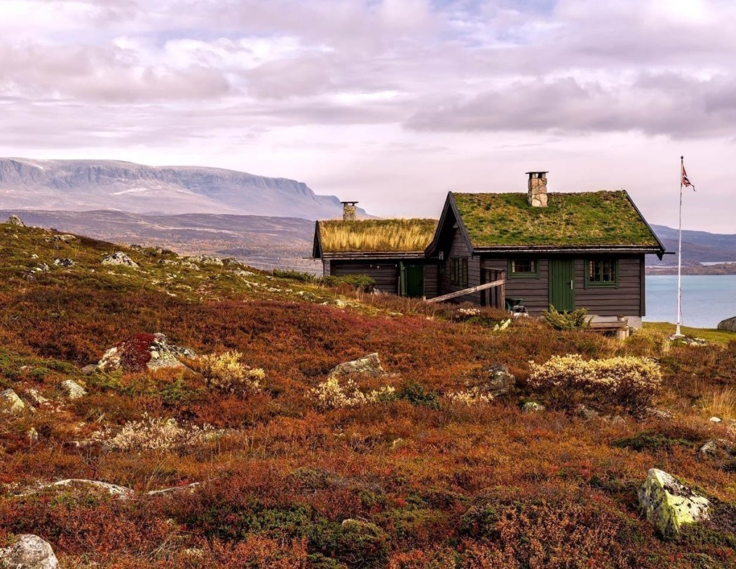 Beautiful Cabin with turf roof near Hardangervidda National Park with Sloddfjorden lake in the background, Buskerud county | Norway Travel Guide