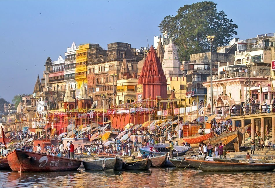 Ghats on the banks of Ganges river in holy city of Varanasi | Top 10 Backpacking Destinations Around the World