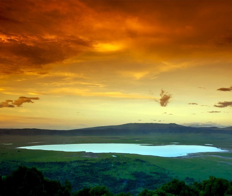 African sunset over the Ngorongoro Crater, Tanzania | 10 Wonders Of The World You Have To Visit