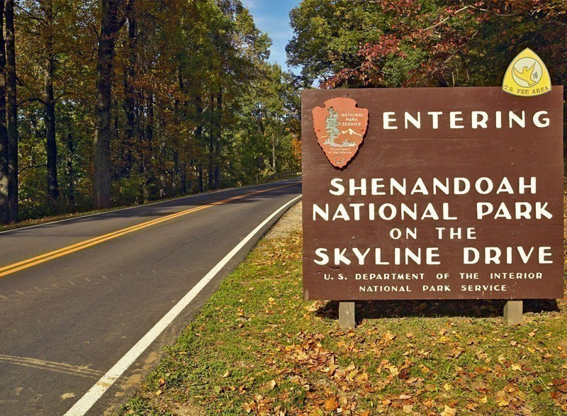 Entering Shenandoah National Park Virginia | 7 National Parks with the Most Scenic Drives
