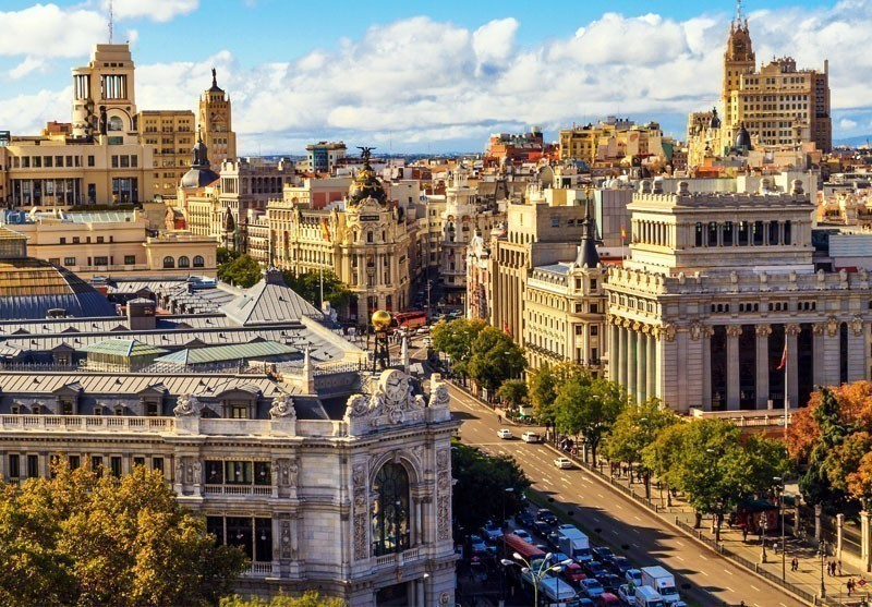 Aerial view of of Gran Via shopping street, Madrid | 10 Best Places to Visit in Spain