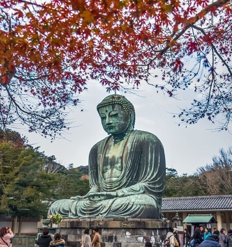 Scenery of the Great Amida Buddha at the Kotoku-in temple in late autumn. | TOP 10 Tourist Attractions in Japan You Must Visit