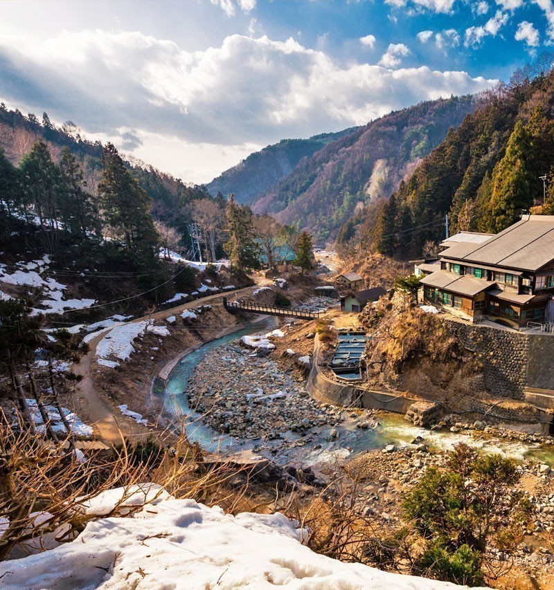 River flows in the valley in Yudanaka, Nagano (Monkey park) | TOP 10 Tourist Attractions in Japan You Must Visit