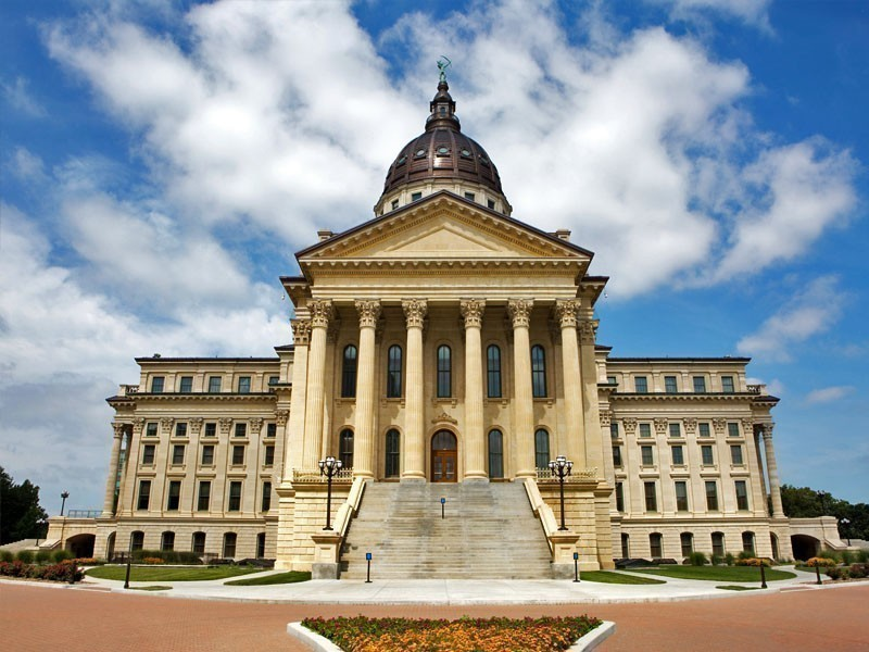 Kansas State Capitol, home to legislative and executive government departments of the state of Kansas
