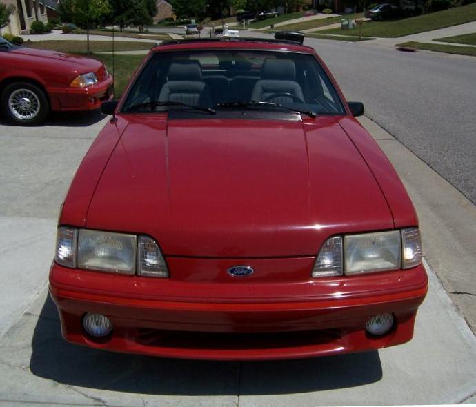 Scarlet Red 1987 Ford Mustang GT Hatchback