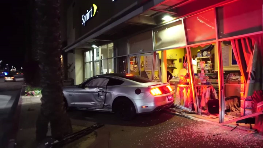 Mustang Crashes Into Cake Shop