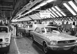 1966 Ford Rouge Assembly Mustangs on final line