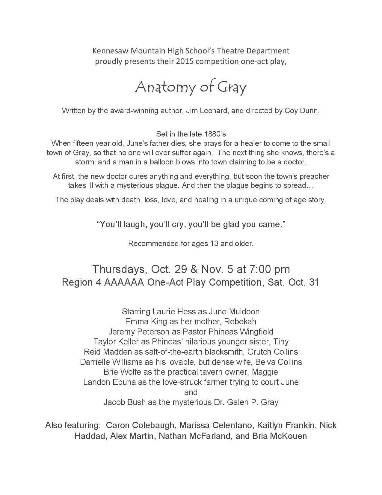 The Play is the Thing- Anatomy of Gray – The Mustang Messenger