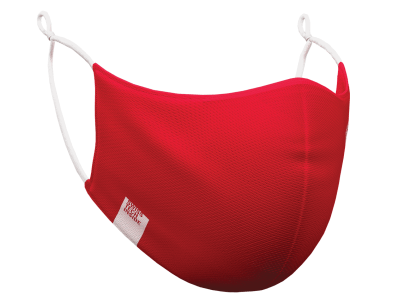 Photograph of a red HeiQ Viroblock +Multi Hi-Tech Protective Washable and Reusable Face Mask.
