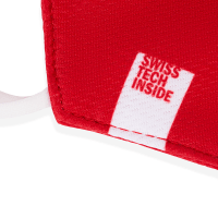 Image of tag on HeiQ Viroblock + Multi Hi-Tech, Protective, Reusable, Red Face Mask that says Swiss Tech Inside.