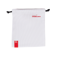 Photograph of the HeiQ Viroblock Protective Washable Mask Bag. The text HeiQ Viroblock + Multi Hi-Tech is written on the top right corner of the bag, and there is a tag which says Swiss Tech Inside is on the bottom left of the bag. The bag fits two masks.