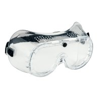 Clear safety goggles with black strap