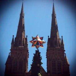 Star on the tree outside of St. Mary's