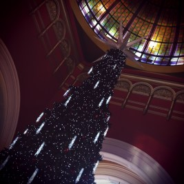 The tippy top of the massive 3 storey high Christmas Tree at the QVB