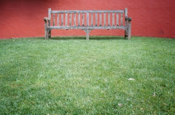 red wall bench