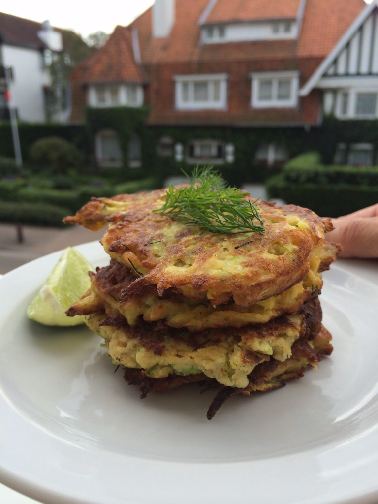 Chickpea and zuchinni pancakes with fresh dill