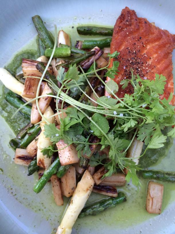 So simple: asparagus, chervil and salmon. A winning combination