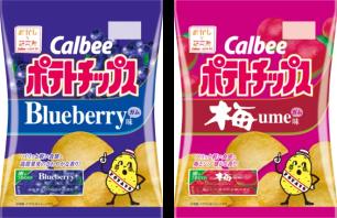 okashina研究所的新商品!「Calbee 洋芋片 藍莓口香糖味‧梅子口香糖味」