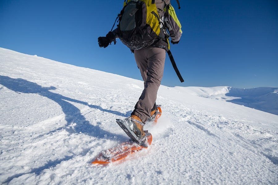 Snowshoeing in the mountains in wintertime