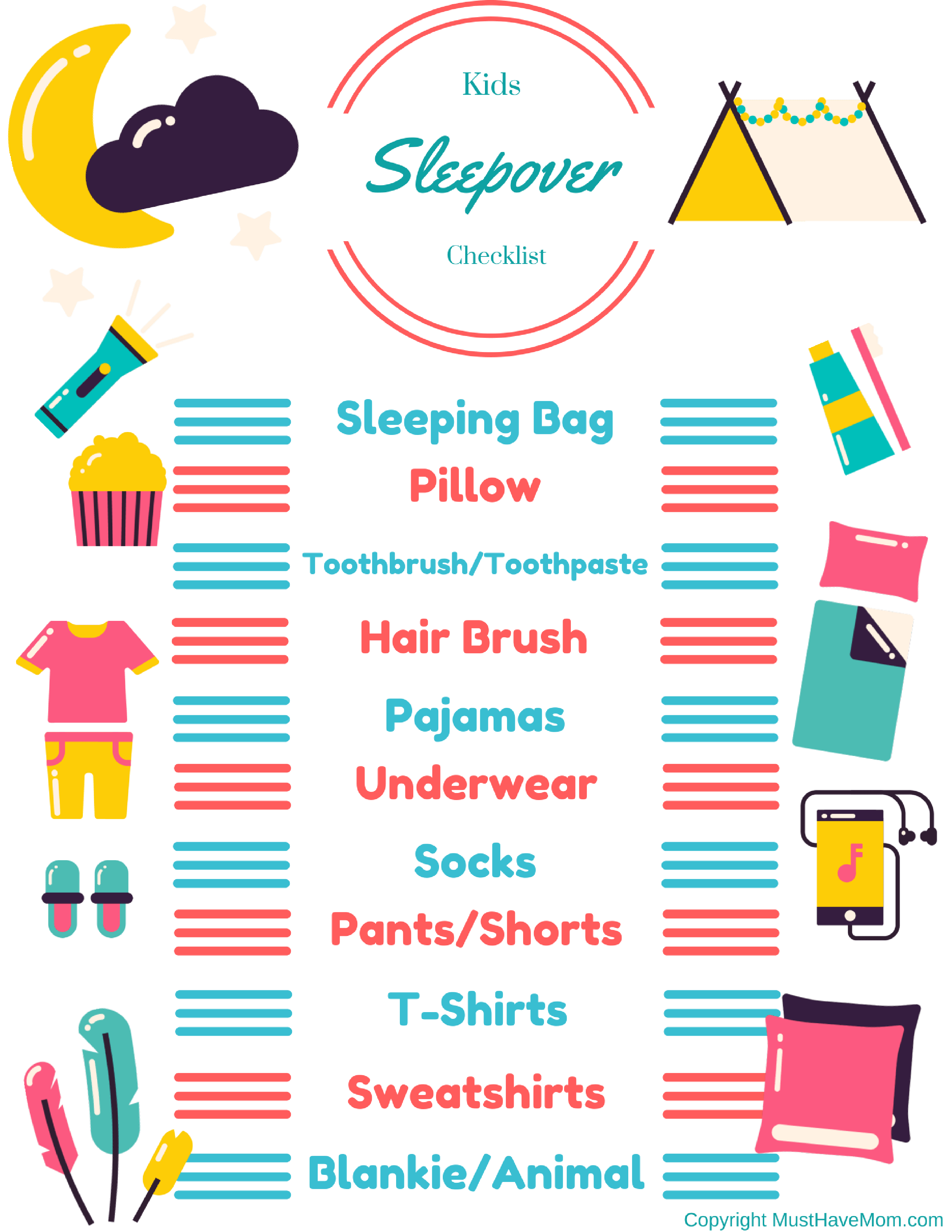 Kids Sleepover Checklist Free Printable