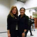 Susan Cingari with MMA fighter Jessica Aguilar after an interview at Bellator 94 in Tampa.