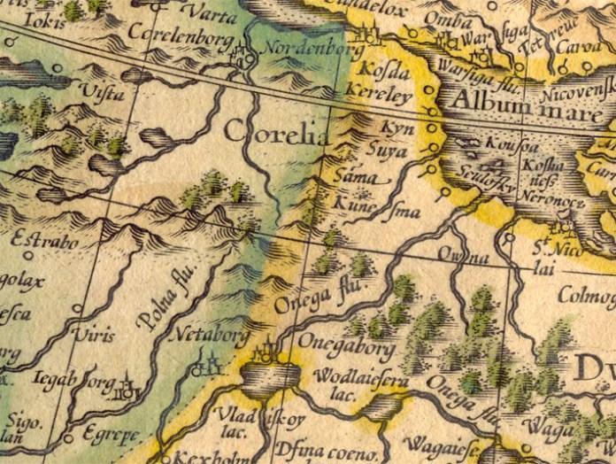 Онегаборг на карте Меркатора