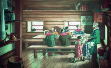"Картина Бориса Кустодиева ""Земская школа в Московской Руси"" (1907)"