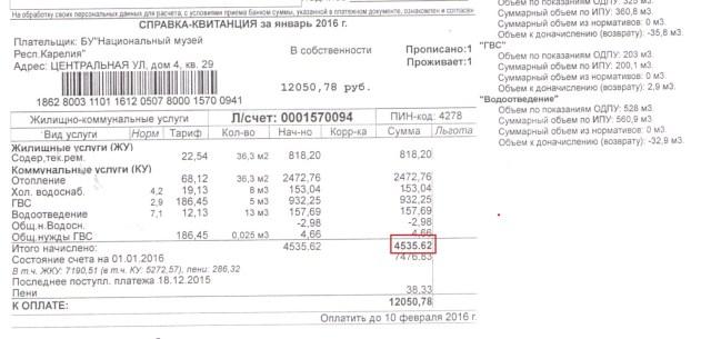 Счет за коммунальные услуги за однокомнатную квартиру в курортном поселке за январь 2016 года