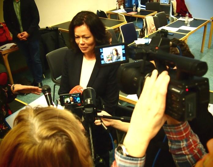 Норвежский министр отвечает на вопросы российских журналистов. Фото: Валерий Поташов