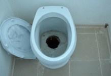 """Знаменитый """"туалет свободного падения"""" в доме, построенном для переселенцев из аварийного жилья в поселке Верхние Важины. Фото: Алексей Владимиров"""