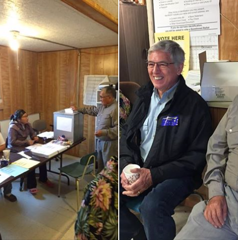 Lt. Gov. Byron Mallott on a site visit to Manakotok on Election Day.