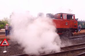 Steaming locomotive.