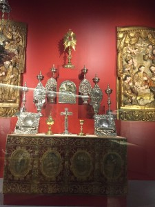 silver religious and liturgical objects, adorned with religious themes