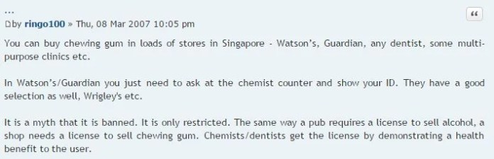 Legal things in Singapore_chewing gum legal_SG EXPATS FORUM