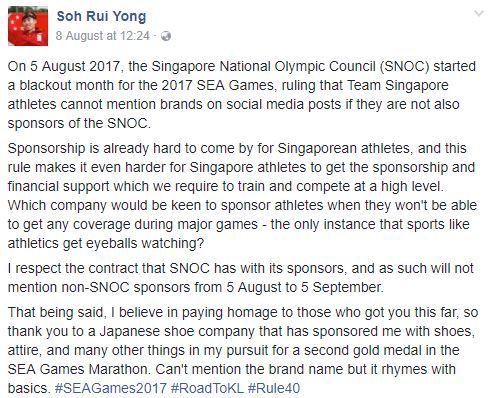 Marathoner Soh Rui Yong Says SNOC Misquoted IOC Rule To Support – Athlete Sponsorship Contract