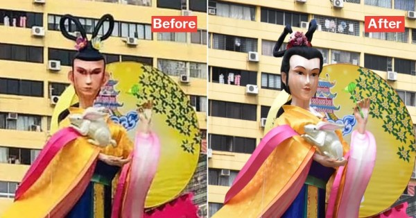 'Masculine' Chang'e Statue In Chinatown Goes For Extreme Makeover, Turns Into A Chiobu Overnight