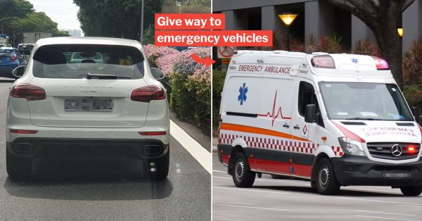 S'pore Driver Ignores Ambulance's Emergency Siren And Doesn't Give Way, Gets Fined $400