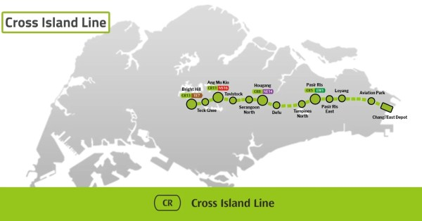 Cross Island Line Will Link Ang Mo Kio To Hougang In Just 3 MRT Stops By 2029
