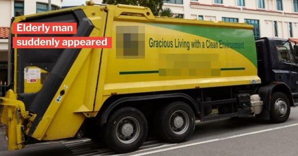 Rubbish Truck Driver In S'pore Tragically Runs Over Elderly Man, He Was Standing In Blind Spot
