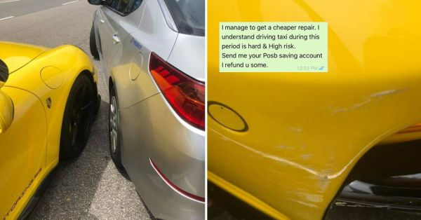 S'pore Porsche Owner Charges Taxi Driver Only $1 For Scratches, Shows Kindness We Need In Tough Times