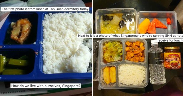 Netizen Compares Migrant Workers & S'porean SHN Meals, Highlights Their Stark Contrast